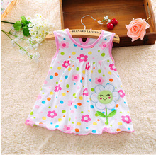 2017 Lovely New Summer Princess Children Sleeveless Dot Flower Lace Clothing Baby Girl Dress Casual Above Knee, Mini Floral