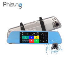 Phisung V200 DVR 3G Android GPS 7.0in rearview mirror camera ROM 16GB night vision car video recorder car dvr with two cameras(China)