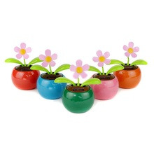 Home Decorating Solar Power Flower Plants Moving Dancing Flowerpot Swing Solar Car Toy Gift(China)