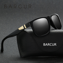 BARCUR Matte Black Plastic Wide Mens Sunglasses Luxury Brand Glasses 2017 Men Eyewear Accessories oculos(China)