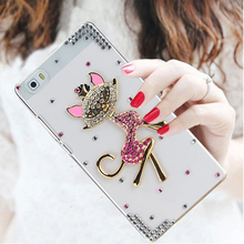 For Huawei P8 Lite Bling bling Pink Rhinestone Transparent plastic Phone protection cover Case for Huawei P8 Lite Case 5.0 inch(China)