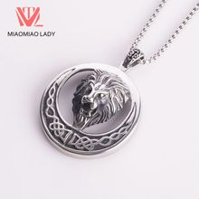 Lion 3D Sculpture Stereo Suspension Head Pendant Double Silver Moon Surround Retro Striped Carved Hinged Tide Skateboard