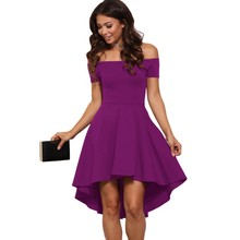 Elegant skater dress summer 2017 off shoulder high low dresses casual womens clothing sexy nightclub sale hot vestidos A61346