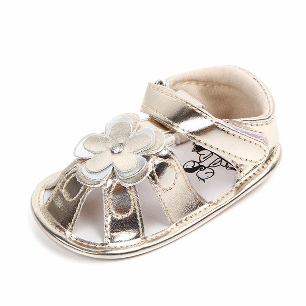 Pudcoco 2018 New Summer Baby Girl Floral Sandals Anti-Slip Leather Crib Hook&Loop Shoes Prewalker Sandals 0-18M