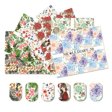 NICOLE DIARY 1Sheet Various Flowers Nail Art Water Tattoo Wrap Tips Decoration Water Transfer Sticker Nail Art Water Decals(China)