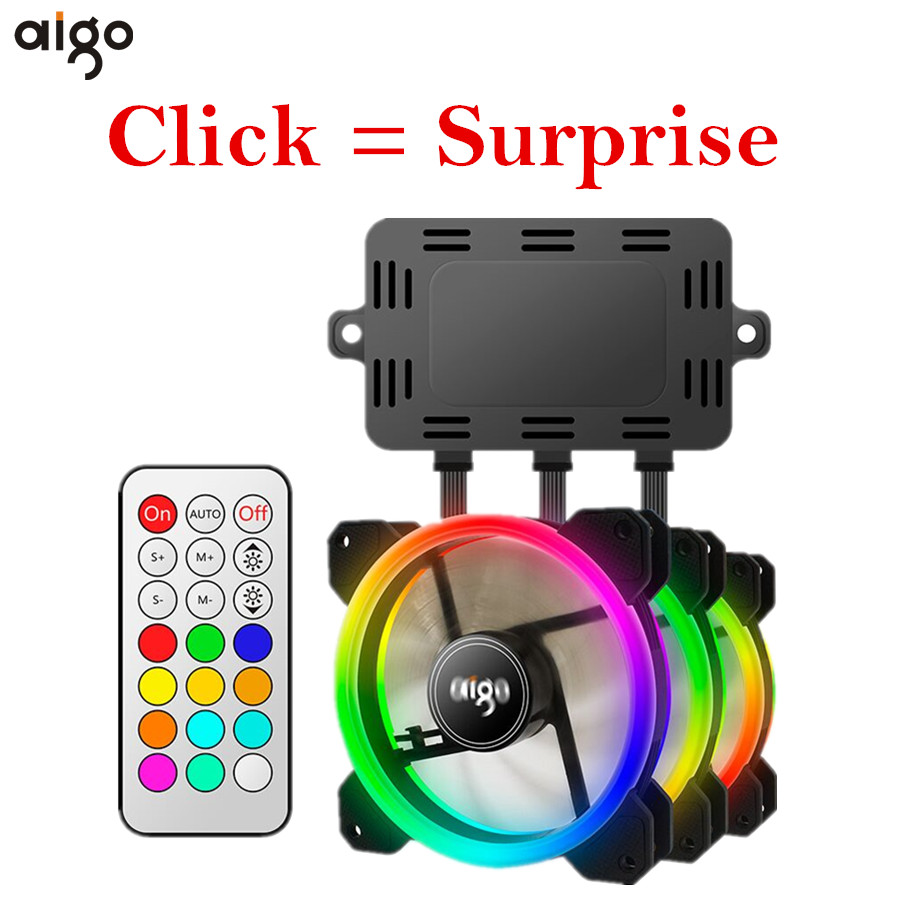 Aigo DR12 3pcs Computer Case PC Cooling Fan RGB Ad...