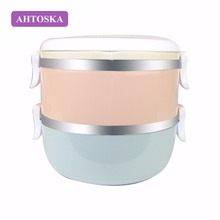 AHTOSKA Two Layers Outdoor Portable Food Containers Thermal Lunch boxes For Kids Thermal Bento Made By PP And Stainless Steel(China)