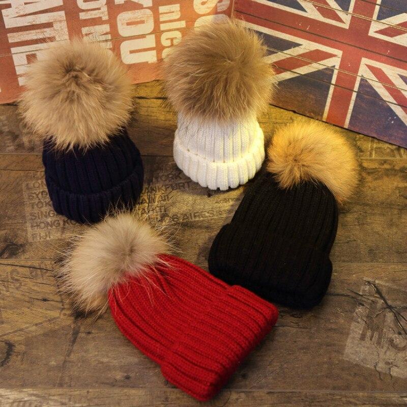 Children  Winter Real Raccoon Soft Fur Pom Pom Knitted Hat Toddler Baby Beanie Warm Solid Ski Cap For Kids Boys Girls 2-9YÎäåæäà è àêñåññóàðû<br><br><br>Aliexpress