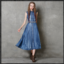 New Fashion 2017 Summer Denim Vintage Dress Women Lapel Embroidery Washed Tank Long Shirt Dress Slim Turn-down Collar Vestidos(China)