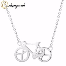 CHENGXUN 925 Sterling Silver Sports Lover's Necklace Mountain Bicycle Charm Cycling Pendant Necklace for Gift(China)