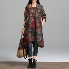 2016 New fashion autumn winter dress vintage painting style thicken warm woolen casual dress loose  women spring dress
