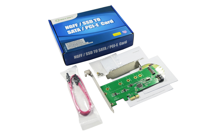 IOCrest PCI-E to M.2 NGFF + SATA 3.0 6Gb Card Hybrid HDD SDD Controller Support RAID 0 1<br>