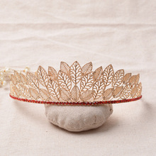 Queen style Leaf Tiara For Bridal wedding Crown fashion Red czech crystal women hairWear party Hair jewelry accessories
