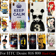 FOR HTC Desire 816 800 D816W Hard Plastic Mobile Phone Cover Case DIY Color Paitn Cellphone Bag Shell  Shipping Free
