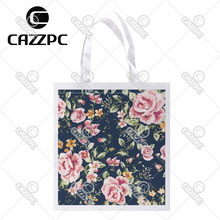 Black Vintage Pink Watercolor Floral Allover Print Custom Non-Woven Fabric Reausble Grocery Shipping Storage bag Pack of 4()