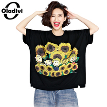 Oladivi Plus Size Women Clothes T-Shirt Sunflower Print Summer Cotton Tops Tees Casual Loose Female Fashion Short Shirts Tunics