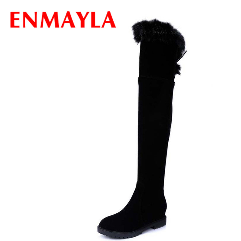 ENMAYLA Flats Size 43 Sexy Long Boots Women Winter Lace-up Warm Fur Shoes Woman Over the Knee High Boots Women Knee High Boots <br>