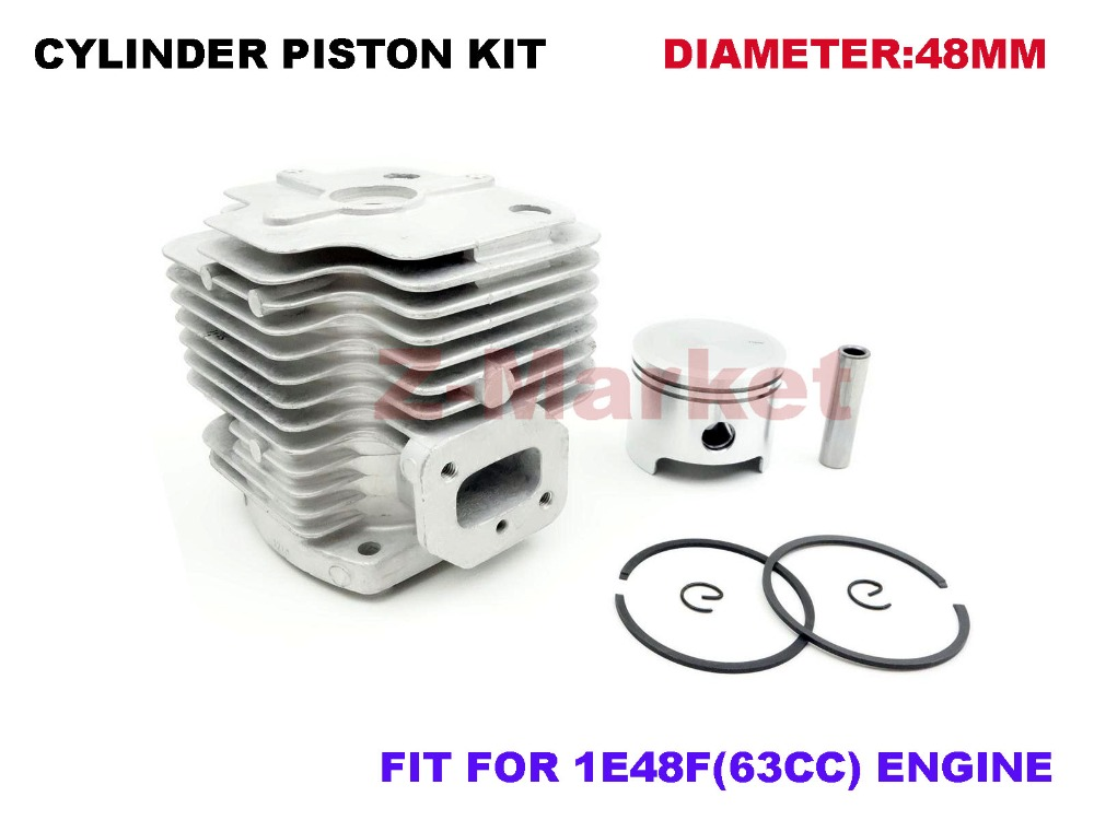 Cylinder Piston Kit for 63CC Brush Cutter.Grass Trimmer.Lawn Mower.Tiller.Outboard.Gasoline Engine Garden Tools Spare Parts(China (Mainland))