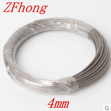 10 meters Diameter 4mm 7*7 Stainless Steel Wire Rope steel wire rope steel cord wire line Tow rope clothesline(China)