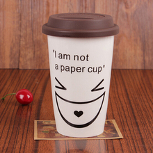 Factory Price Cute Facial Expression Ceramic Mug With Heat Resistant Silicone Lid Milk Coffee Mug Cup With Lid JSF-Mugs-013(China)