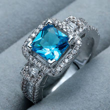 Gorgeous Womens White Gold Plated Princess Cut Blue Sapphire Stone Shining CZ Crystal Ladys Girls Female Wedding Engagement Ring