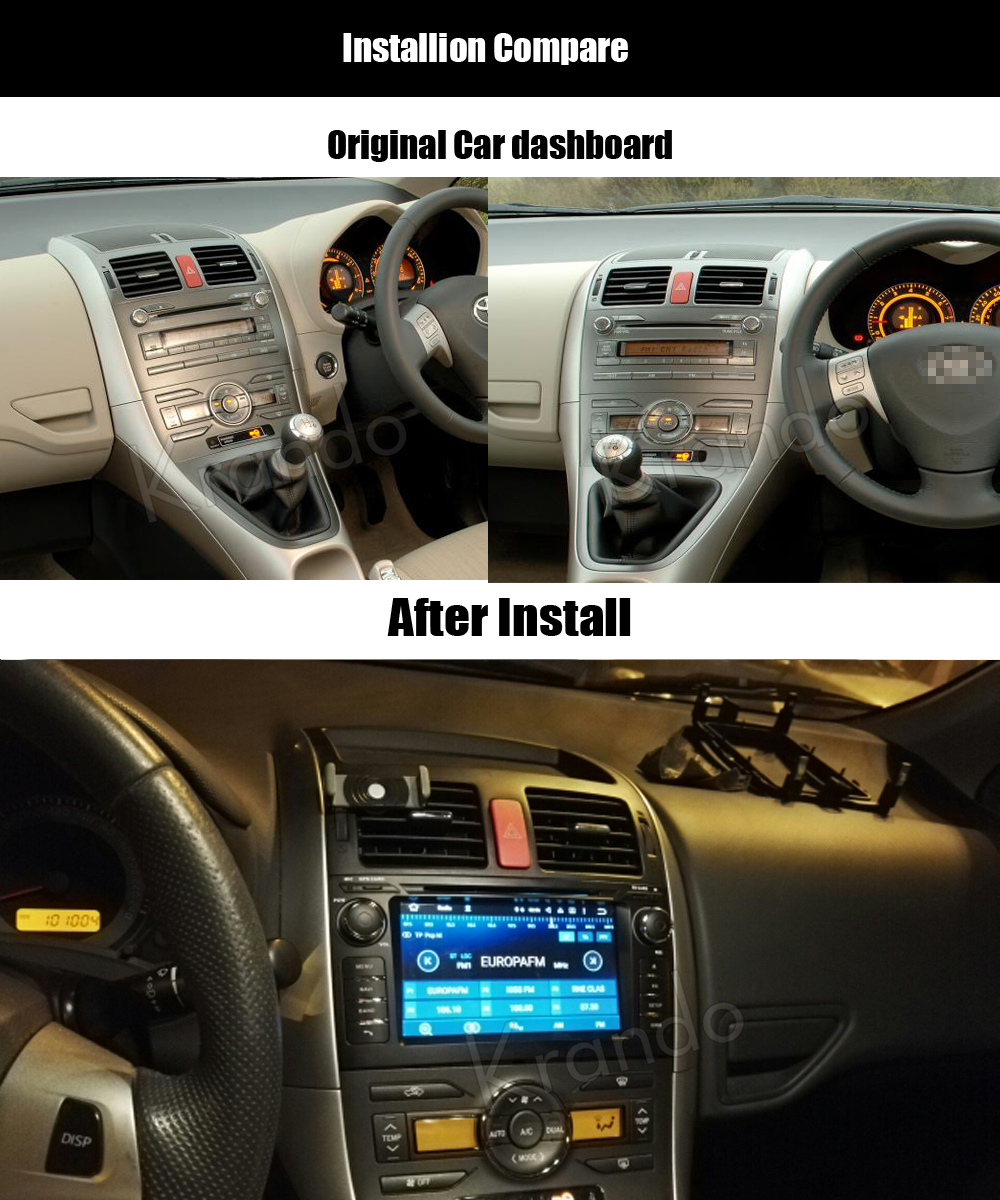 Krando toyota auris corolla hatchback Android car radio gps navigation multimedia system