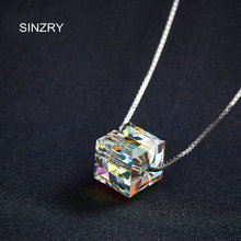 SINZRY jewelry Hot import crystal chokers necklaces fashion 925 sterling silver brilliant square pendant necklaces for women(China)