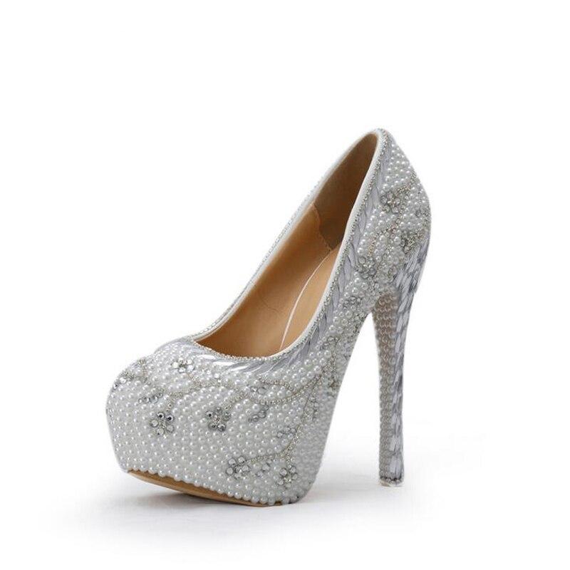 2016 Crystal Handmade White Heel Pearl  Bridal Shoe Luxurious Rhinestone Wedding Shoes Women High Heels Platform Pumps Plus Size<br><br>Aliexpress