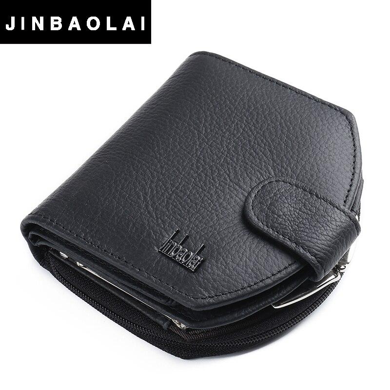 JINBAOLAI 2016 New Fashion Female Bag 3 Fold Genuine Leather Women Wallets Button Coin Pocket Female Clutch Women Purse Wallet <br><br>Aliexpress