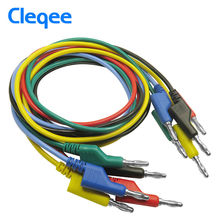 Cleqee P1036 1Set 5pcs 1M 4mm Banana to Banana Plug Test Cable Lead for Multimeter 5 Colors(China)
