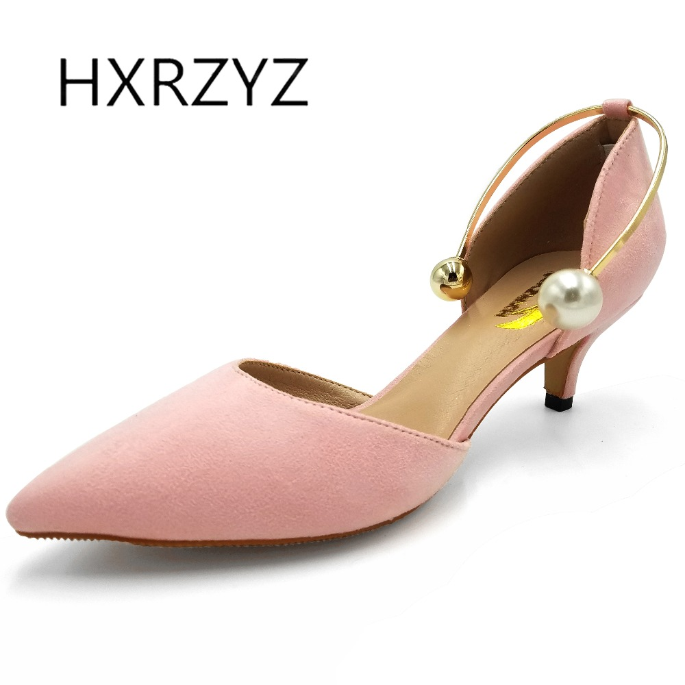 HXRZYZ  women high heels two-piece suede pearl shoes female autumn 2017 fresh velvet pointed toe shallow mouth women dress shoes<br>