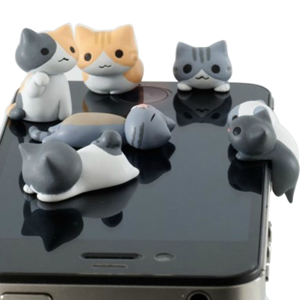 Besegad 6pcs 3D Cartoon Cat kitten 3.5mm Earphone Jack Dustproof Anti Dust Plug for iPhone 6 5 4 6S 5s Samung Galaxy S6(China (Mainland))
