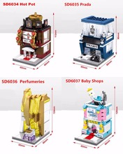 SD6034 SD6035 SD6036 SD6037 Mini Street scenery Hot Pot Maternal store Perfumeries building block Toys Gift compatible bricks
