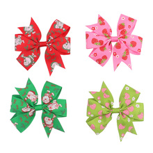 60 pcs/lot , You Choose Color Strawberry Print Ribbon Bow hair clips , Grosgrain ribbon hairbow Alligator clip(China)