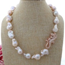 "K110103 19"" 17x18MM Pink Keshi Pearl Necklace Lizard CZ Pave Pendant(China)"