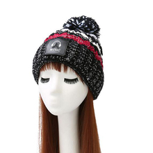 2017 Korean version of the mixed color wire tag headphones knit cap plus cashmere warm ladies hat autumn and winter wool cap(China)