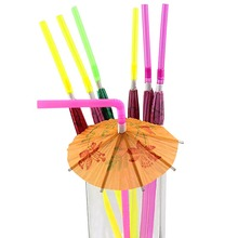 50pcs umbrella drinking straws parasol cocktail paper straws Hawaiian Hula Beach Party Cocktail Straws HD0104(China)