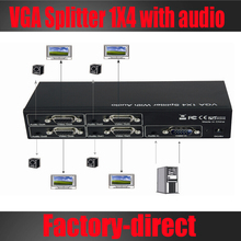 4 Port VGA Splitter 1X4 VGA XGA SVGA HD15 Video audio splitter 1 VGA input 4 VGA output with audio
