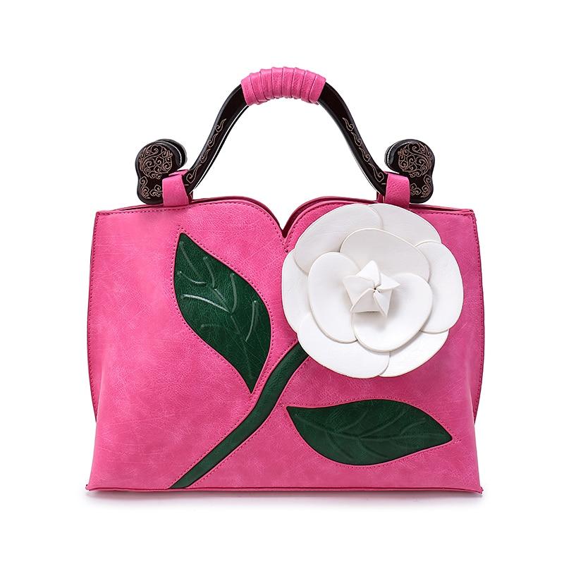 high quality fashion 2017 Women Large Flower Vintage Shoulder   Handbags  Female National elegant  Solid Totes   Lady Hand Bags<br>
