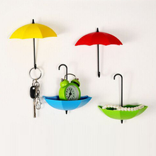 3Pcs Umbrella Wall Hook Key Hair Pin Holder Colorful Organizer Decor Decorate Bottoni Botoes Wall Hooks Decorative(China)