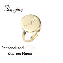 Duoying Gold Disc Custom Name Ring Engraved Personalized Ring Adjustable Jewelry Open Ring For eBay Friends Initial Love Ring