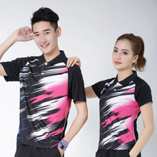 Sportswear Quick Dry breathable badminton shirt,Women/Men black/blue table tennis clothes team game training golf POLO T Shirts(China)