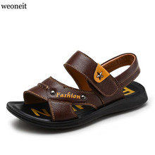 Weoneit 2017 Children Summer Shoes Beach Sandals for Boys Male Kids Leather Sandalias Boys Footwear Size 26-37