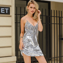 Deep V Neck Autumn Silver Sequined Backless Sexy Dress Women Off Shoulder Mini Dress Christmas Party Club Strap Dresses Vestidos(China)