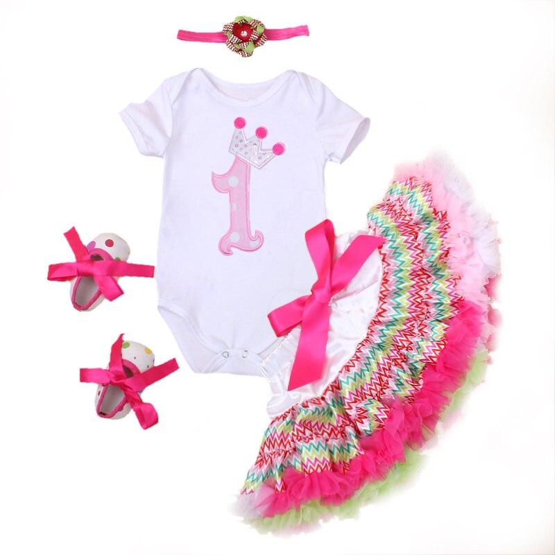 Children Clothing Sets Newborn Bodysuit + Tutu Skirts Pettiskirt + Shoes + Headband 4 Pcs Set Girls Flower 1 Birthday Clothes<br><br>Aliexpress