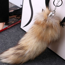 Women Fashion Super Fox Tail Keychain Lady Pendant Car Key Chain Bag Strap Valentine's Day Fur Keychain(China)