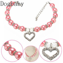 Dogbaby New Diamante Heart Rhinestone Pendant Mascotas Pearl Necklace Collar Pet Jewelry Pet supplies Pet shop dog accessories(China)