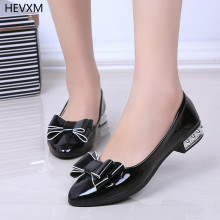 HEVXM 2017 autumn new women's shoes fashion summer shallow mouth single shoes bow flat shoes sets toes with flat head tide