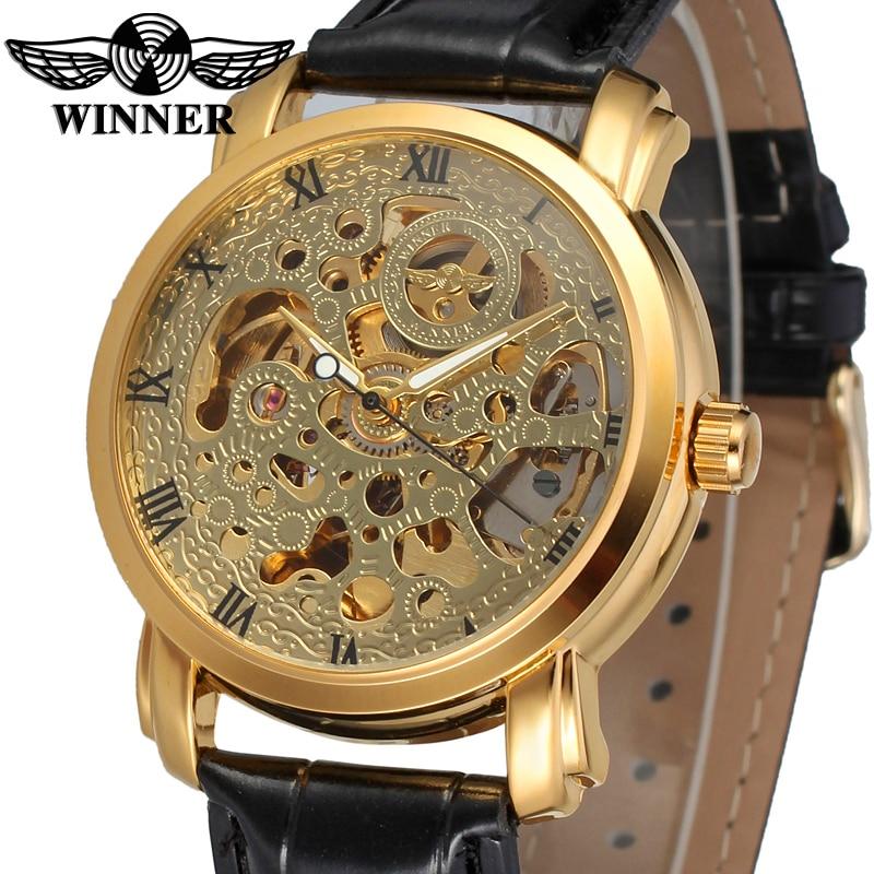 Fashion WINNER Men Brand Gold Skeleton Genuine Leather Strap Watch Mechanical Hand Wind Wristwatches Gift Box Relogio Releges<br><br>Aliexpress