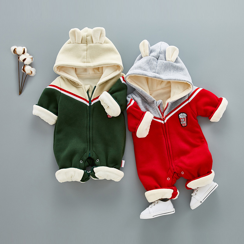 2017 new fashion autumn winter children Christmas clothing baby thicken rompers infant jumpsuit child ear clothes<br>